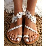 PAOTMBU Women's Sandals WHITE - White & Beige Floral Lace Sandal - Women