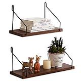 HOMWOO Shelves for Wall Floating Shelves Set of 2 Oak Solid Wood Shelves Floating Shelves Bathroom Rustic Wall Mounted Wall Shelf for Living Room, Bedroom, Bathroom, Kitchen, Office (Walnut)
