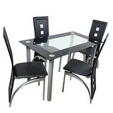 WDDH 5 PCS Dining Table Set Modern Tempered Glass Tabletop with 4 Chairs,for 4 Persons Kitchen Dining Table, Breakfast Dining Room Kitchen Furniture