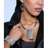 YUSHI Women's Bracelets SILVER - Silvertone Etching Boho Jewelry Set