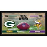 """Green Bay Packers vs. Minnesota Vikings Fanatics Authentic Framed 10"""" x 20"""" House Divided Football Collage"""
