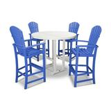 POLYWOOD® Palm Coast 5 Piece Bar Height Dining Set Plastic in White/Blue, Size 52.75 H x 116.0 W x 116.0 D in   Wayfair PWS261-1-10048