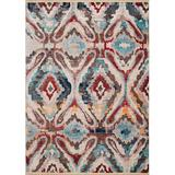 World Menagerie Trouville Brown/Blue/Red Rug Polyester in Blue/Brown/Red, Size 31.0 W x 0.24 D in | Wayfair 1C28AEE8D59E49EAB65F79602F888C0D