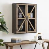 Laurel Foundry Modern Farmhouse® Tabatiere 2 - Door Accent Cabinet Wood in Brown/Green, Size 27.75 H x 21.75 W x 8.0 D in | Wayfair