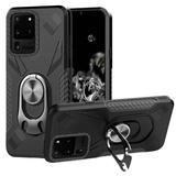 Bottle Opener Hybrid Case With Carbon Fiber Details and Magnetic Ring Stand, Black For Galaxy S20 Ultra