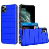 Multi Card Rugged Shock Proof Hybrid Case, Dark Blue For iPhone 11 Pro