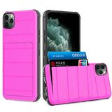 Multi Card Rugged Shock Proof Hybrid Case, Hot Pink For iPhone 11 Pro