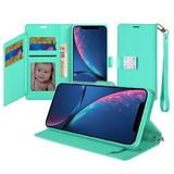 Magnetic Metal Snap Two Row Credit Card Holder Mobile Phone Wallet Case with Wristlet, Teal For iPhone XR