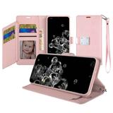 Magnetic Metal Snap Two Row Credit Card Holder Mobile Phone Wallet Case with Wristlet, Rose Gold For Galaxy S20 Ultra