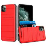 Multi Card Rugged Shock Proof Hybrid Case, Red For iPhone 11 Pro