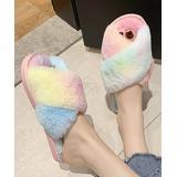 TMBU Women's Slippers colors - Pink & Yellow Fuzzy Open-Toe Slipper - Women