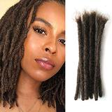 Human Hair Dreadlock Extensions 20 Strands locks extensions human hair Dsoar Full Handmade Crochet Dreads Hair(8inch,width:0.8cm,Dark Brown)
