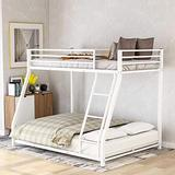 Metal Floor Bunk Bed, Twin Over Full Bunk Bed for Kids, Space-Saving Bed Frame with Ladder, White