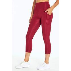 Bally Total Fitness Damen Dana High Rise Mid Calf Pocket Leggings, Damen, Caprihose, Dana High Rise Mid-Calf Pocket Legging, Beet Rot, X-Large