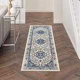 """Nourison Cyrus Geometric Floral Ivory/Navy 8' Runner Area Rug , 2'2"""" x 7'6"""""""