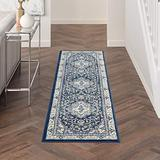 """Nourison Cyrus Geometric Floral Navy/Ivory 8' Runner Area Rug , 2'2"""" x 7'6"""""""