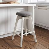 Nathan James Amalia Backless Kitchen Counter Height Bar Stool, Solid Wood with 360 Swivel Seat Dark Gray/White