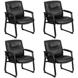 Flash Furniture Hercules Series Big & Tall 500 lb. Rated Black Leather Executive Side Reception Chair with Sled Base - GO-2136-GG Pack of 4