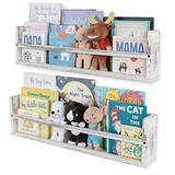 Nursery Décor Wall Shelves – 2 Shelf Set – Paulownia Wood Burnt White Floating Bookshelves for Baby & Kids Room, Book Organizer Storage Ledge, Display Holder for Toys, CDs, Spice Rack (White)