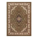 Well Woven Barclay Medallion Kashan Traditional Persian Floral Plush Area Rug, Green, 5X7FT OVAL