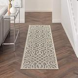 """Nourison Palamos Indoor/Outdoor Modern Floral Casual Contemporary Grey 2'2"""" x 7'6"""" Area Rug, (8' Runner)"""