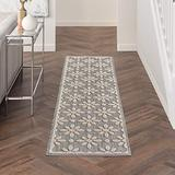 """Nourison Palamos Indoor/Outdoor Modern Floral Contemporary Grey 2'2"""" x 10' Area Rug, (10' Runner)"""