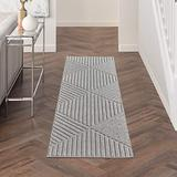 """Nourison Palamos Indoor/Outdoor Modern Floral Geometric Contemporary Lt Grey 2'2"""" x 7'6"""" Area Rug, (8' Runner)"""