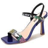 Women's Multicolor Square Toe Stilettos Sandals Ankle Strap Pumps High Heels Dress Ladies Sexy Fashion Open Toe Heeled Louis Heel Shoes Blue Snake PU US 8