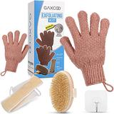 Dry Brushing Body Brush For Natural Cellulite And Lymphatic Brushes System Skin Set Exfoliator Exfoliating Kit Gloves Shower Women Scrub Glove Bath