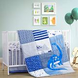 Baby Boy Crib Bedding Set, 3 Pieces Dinosaur Crib Sets for Boys Includes Crib Comforter with Delicate Embroidery, Crib Sheet and Crib Skirt,Navy/Blue/Grey