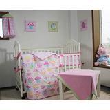 12 PCs Pink Floral Nursery Crib Bedding Set Pink Sweet Cupcake Embroidery Baby Girl Bedding Set Baby Girl Toddler Girl Bedding Set