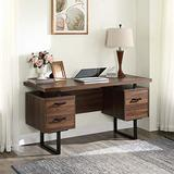 """STERXONE Modern 59"""" Home Office Desk with File Drawer and Storage Drawers, Thicken Wood Computer Desk PC Laptop Table Study Large Writing Table, Sturdy Metal Legs, Easy to Assemble"""
