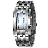 PASOY Binary Blue LED Digital Watch Mens Classic Creative Fashion Square Silver Plated Women Boys Date Wrist Watches (Silver) (Silver)