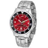 """""""Red Louisville Cardinals Competitor Steel AnoChrome Color Bezel Watch"""""""