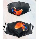 JC Sunny Women's Fabric Face Masks - Black & Red Fish Non-Medical Face Mask - Set of Two