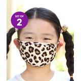Riah Fashion Girls' Fabric Face Masks Brown - Brown Leopard Kids Non-Medical Face Mask - Set of Two