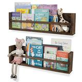 Nursery Décor Wall Shelves – 2 Shelf Set – Paulownia Wood Burnt Wash Floating Bookshelves for Baby & Kids Room, Book Organizer Storage Ledge, Display Holder for Toys, CDs, Spice Rack (Brown)