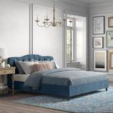 Kelly Clarkson Home Melissa Upholstered Platform Bed Upholstered/Polyester/Polyester blend/Metal in Blue, Size 41.0 W x 78.0 D in | Wayfair