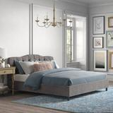 Kelly Clarkson Home Melissa Upholstered Platform Bed Upholstered/Polyester/Polyester blend/Metal in Gray/Black, Size 78.0 W x 83.0 D in | Wayfair