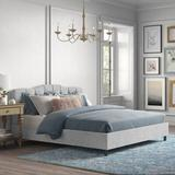 Kelly Clarkson Home Melissa Upholstered Platform Bed Upholstered/Polyester/Polyester blend/Metal in White/Yellow, Size 78.0 W x 83.0 D in | Wayfair