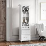 """Kelly Clarkson Home Gabby 18"""" W x 60"""" H x 14"""" D Linen Cabinet Manufactured Wood in Brown/White, Size 60.0 H x 18.0 W x 14.0 D in 