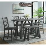 Regan 6PC Counter Height Dining Set in Gray-Table, 4 Side Chairs & Bench - Picket House Furnishings DRN3006CS