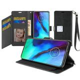 Magnetic Metal Snap Two Row Credit Card Holder Mobile Phone Wallet Case with Wristlet, Black For Moto G Stylus