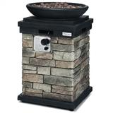 Costway 40000BTU Outdoor Propane Burning Fire Bowl Column Realistic Look Firepit Heater-Gray