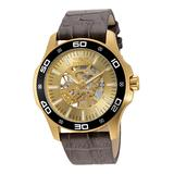 Invicta Men's Watches Gold - Goldtone Croc-Embossed Leather-Strap Skeleton Watch