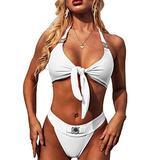 YAUASOPA Sexy Handmade Sequins 2PCS Bikini Set Tankini Sexy Bra Swimsuit Lace Top Praty Swimwear (US 2-4(S), White-3)