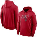 Men's Nike Red Tampa Bay Buccaneers Fan Gear Primary Logo Therma Performance Pullover Hoodie