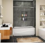 "WELLFOR 60"" W x 57"" H Single Sliding Semi-Frameless Shower Door Impact Resistant Glass in Green, Size 57.0 H x 60.0 W in | Wayfair B020211-WF"