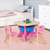 Zoomie Kids Kai Kids 3 Piece Play Table & Chair Set Plastic in Pink/Brown, Size 20.0 H x 27.0 W x 20.0 D in   Wayfair