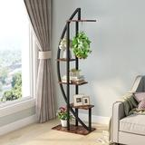 """17 Stories Etter 63"""" H x 19.7"""" W x 11.8"""" D Shelving Unit Wood/Wire/Metal in Brown, Size 63.0 H x 19.7 W x 11.8 D in 
